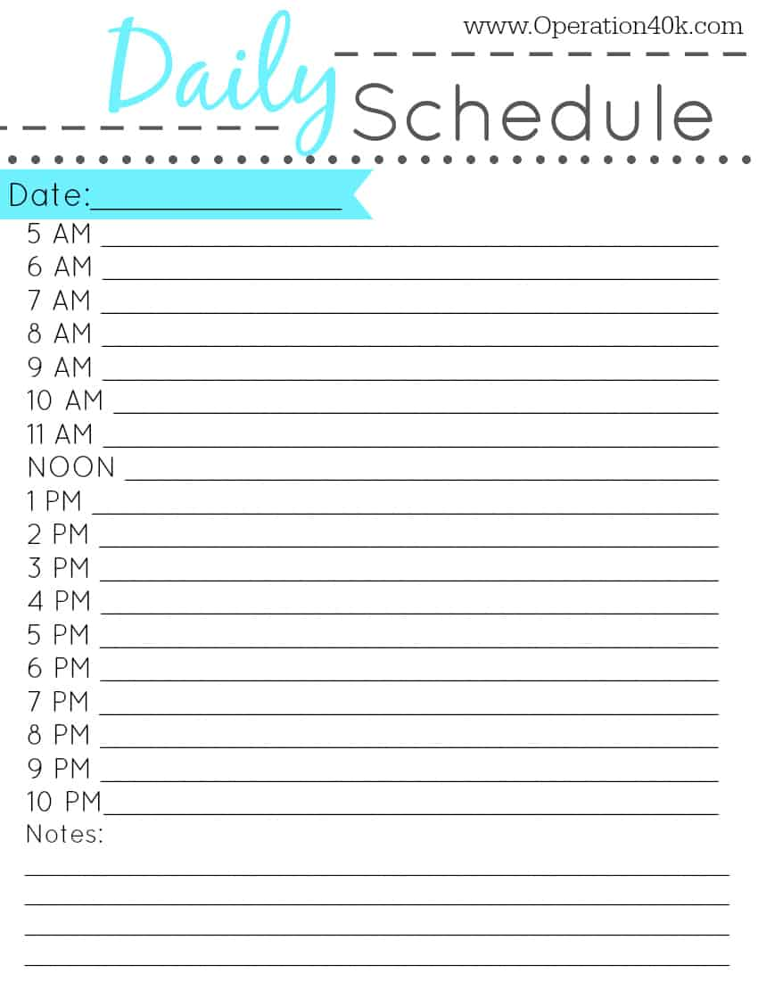 printable daily hourly schedule template Quotes