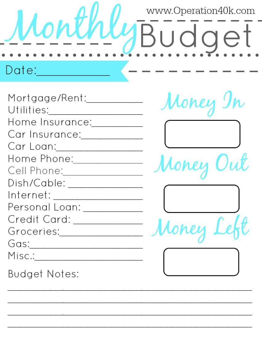 Simple Budget Worksheet Printable Family binder free printable