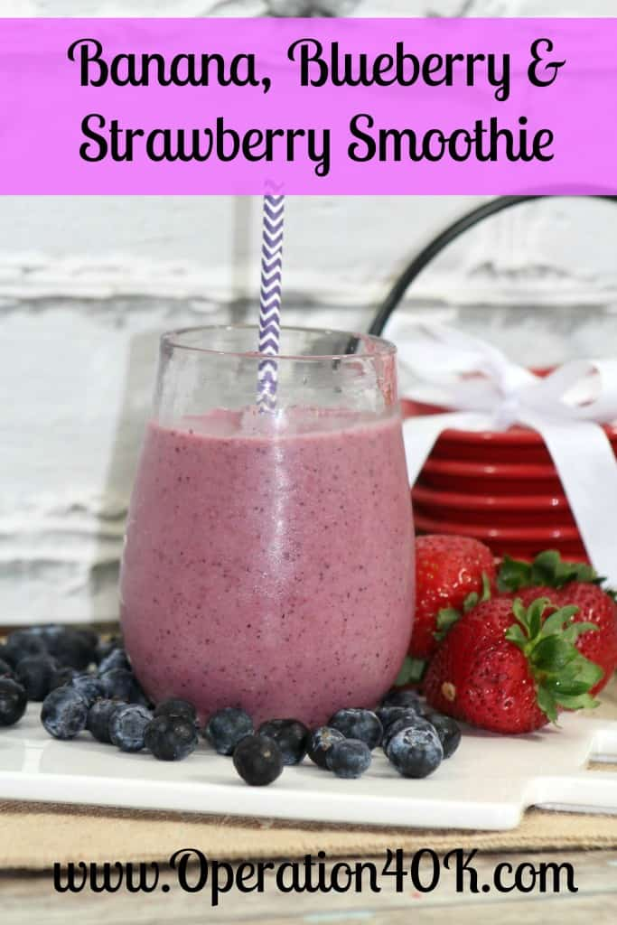 Banana, Blueberry, and Strawberry Smoothie