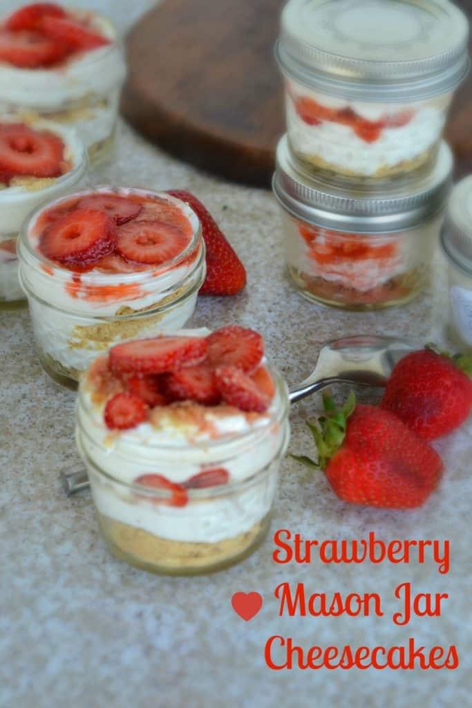 Strawberry Mason Jar Cheesecakes