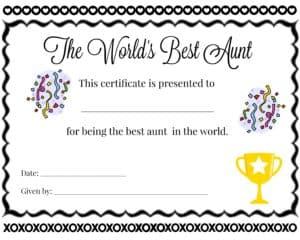 best aunt certificate