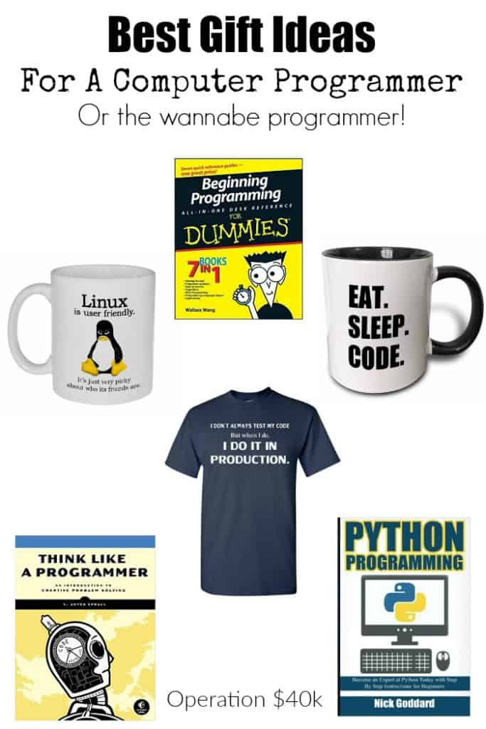 Best Gift Ideas For Computer Programmers, or those who want to become programmers! This list is full of great tools, books, & fun gifts for any programmer!