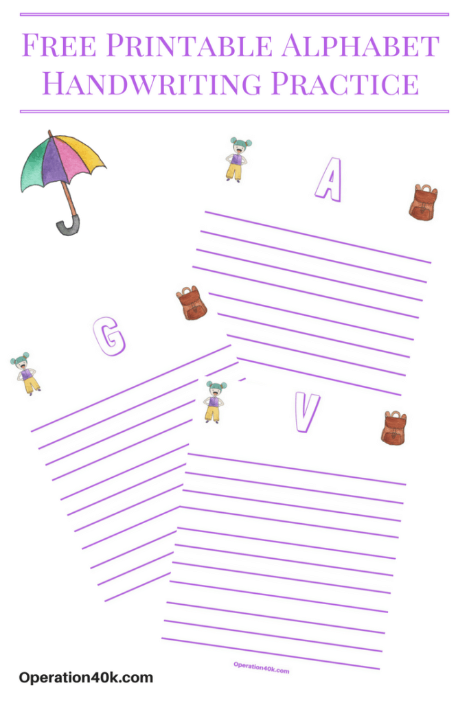Printable Worksheets free printable alphabet worksheets for kindergarten : Free Alphabet Printable Handwriting Worksheets - Operation $40K