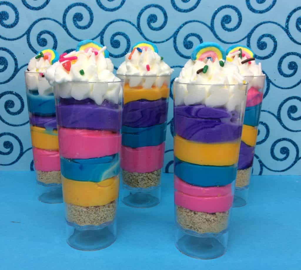 Unicorn Poop Cheesecake Shooters recipe from Operation40k.com