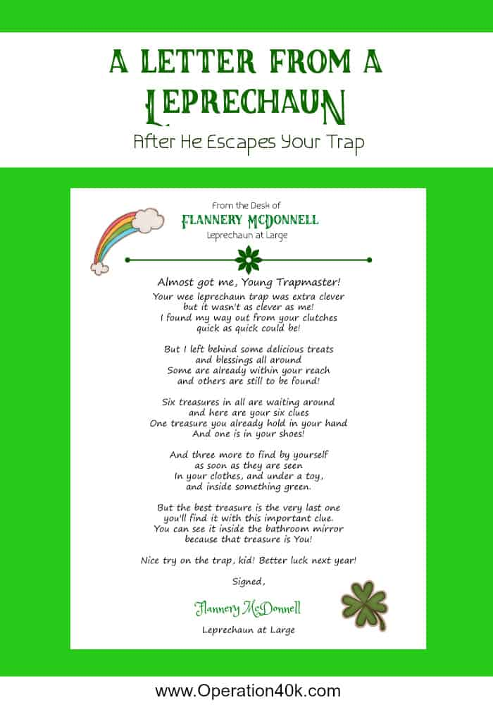 photo relating to Leprechaun Feet Printable named Leprechaun Traps and Printable Letter - Medical procedures $40K