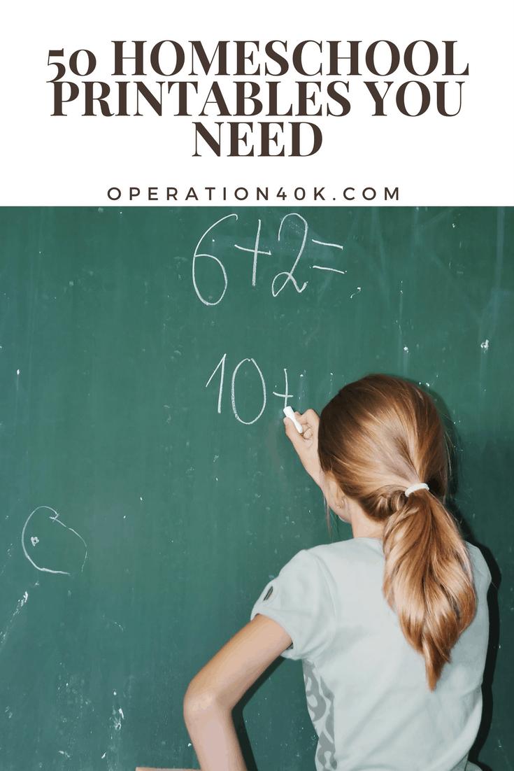 50 Homeschool Printables You Need - Operation $40K