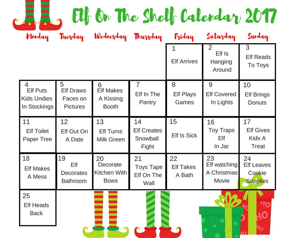Elf on the Shelf Daily Calendar