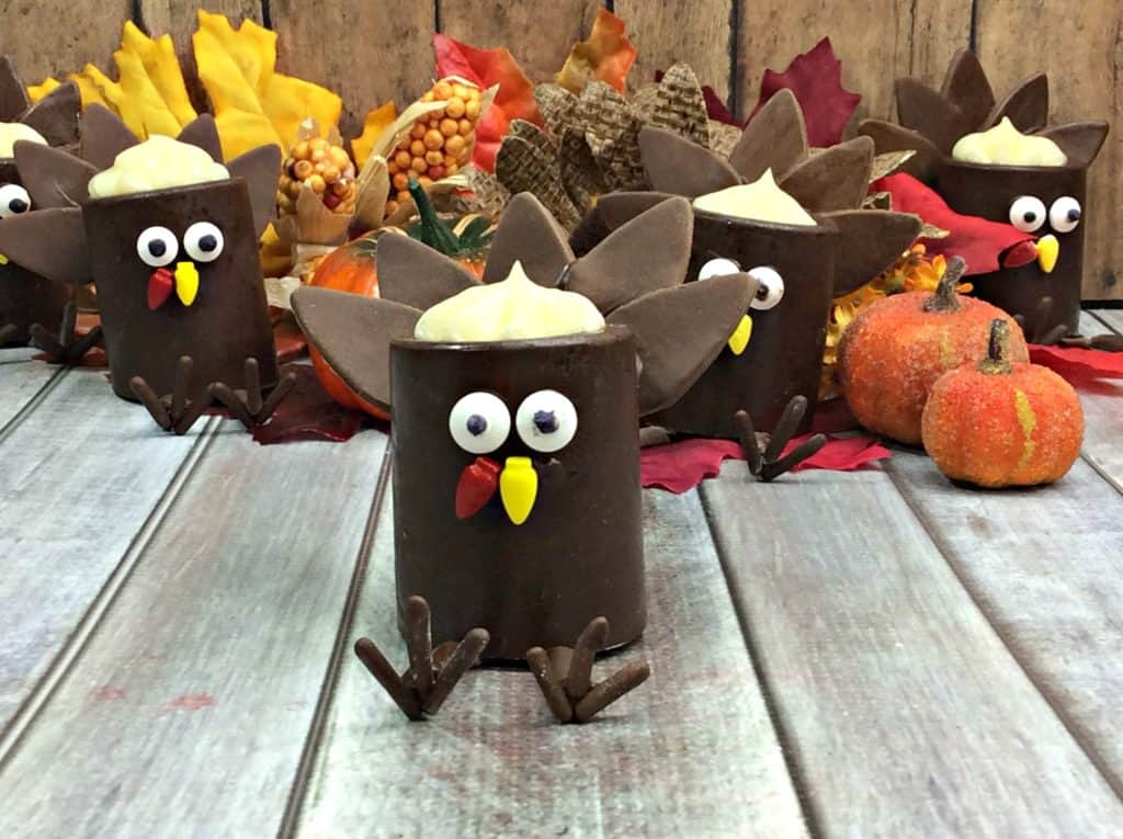 Whimsical Chocolate Filled Turkey Cups