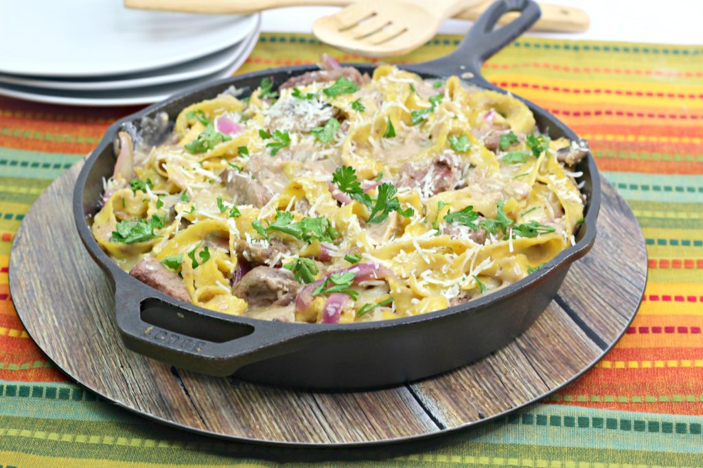 FrenchOnion Beef Stroganoff in A Cast Iron Skillet