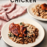 Easy to make Lemon and Thyme Chicken with Spinach Rice Dinner!