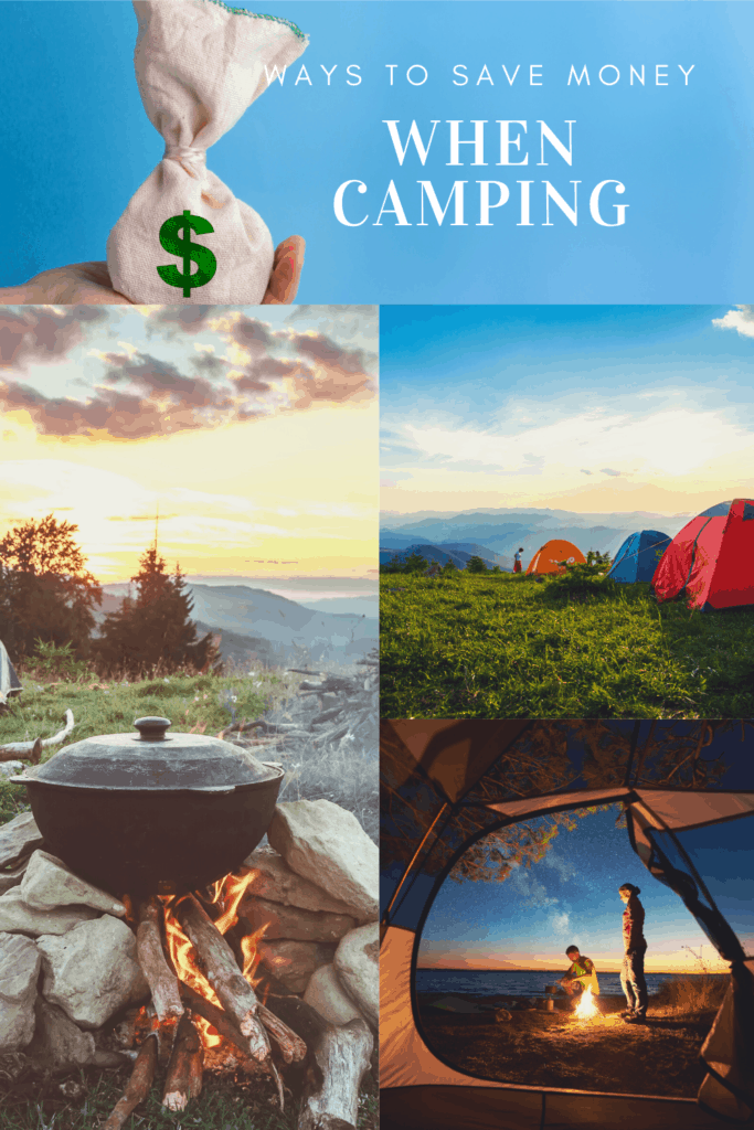 How to Save Money Camping article cover image with camping pictures