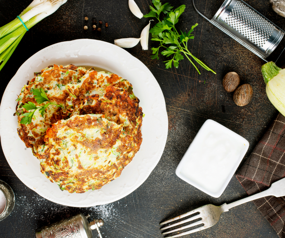 What do you serve with zucchini pancakes?